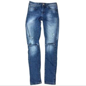 Zara Skinny Ankle Distressed Jeans 2 Denim Blue